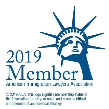 Logo that signifies 2019 membership status in the American Immigration Lawyers Association (AILA). It is not an official endorsement of the firm.